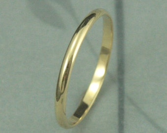 Solid 18K Gold 1.5mm Skinny Minnie Plain Jane Half Round Band-YOUR Choice of 18K Yellow, White or Rose Gold