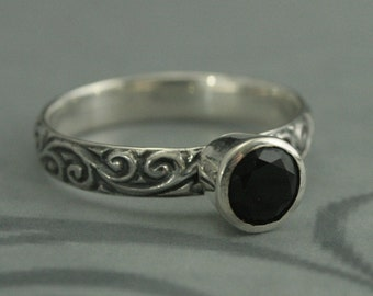 Black Magic--Sterling Silver Flourish Patterned Ring with Bezel Set Black Faceted Onyx--Faux Black Diamond Ring--Alternative Engagement Ring