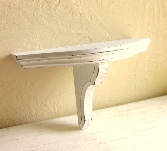 Shabby Chic White Wood Wall Shelf Rounded Edge By Shabbynchic