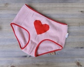 Cashmere panties, wool underwear, red heart, valentines gift, gift for her, romantic lingerie
