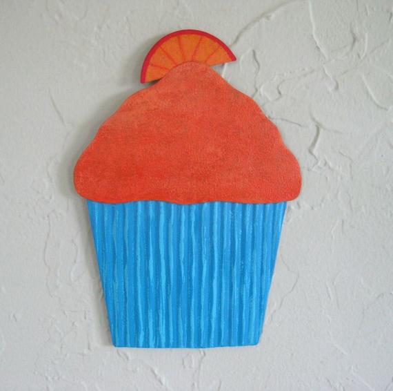 Kitchen Wall metal Art - Orange Swirl Delight - Fat Free Cupcake Reclaimed Metal Wall Sculpture Turquoise 6 x 8