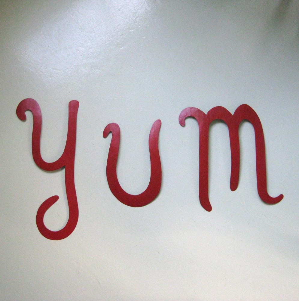 Metal Wall Art Sculpture Kitchen Decor Yum Handmade