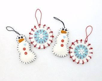 Hand Sewn Penny Rug Style Christmas Ornaments - Set of 4