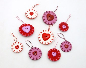 9 Wool Felt Valentine Ornaments