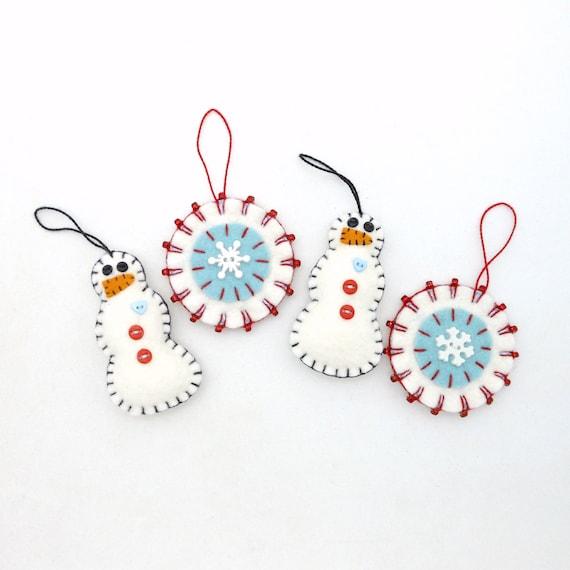 Hand Sewn Penny Rug Style Christmas Ornaments Set Of 4