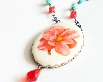 Pink Flower Pendant Necklace Large Vintage Floral Cameo Peach Pink Statement Jewelry Camellia Jewelry Romantic Gifts For Her Valentine's Day