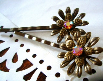 Hair Pins - Swarovski and Antiqued Brass Daisy Floral Pins - Vintage-Style Vintage-Chic Hair Accessories