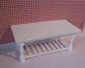 Miniature Table, shabby style,dollhouse table, distressed table,  twelfth scale dollhouse piece, Slat bottom table