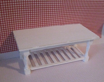 Miniature Table, shabby style,dollhouse table, distressed table,  twelfth scale dollhouse piece, Slat bottom table