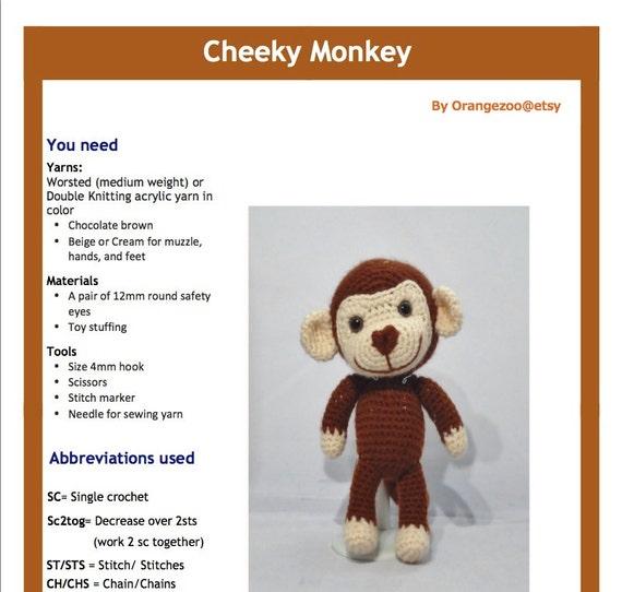 Cheeky Monkey Amigurumi Crochet Pattern : PDF Amigurumi Pattern: Cheeky Monkey
