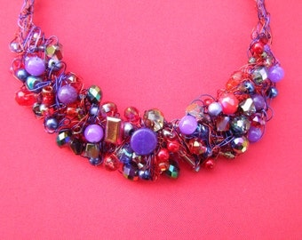 Vibrant Glow Crocheted Wire Necklace