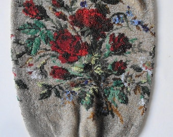 Floral Beaded Purse Red Roses Antique Bag Drawstring Reticule