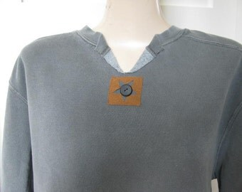 Women's Sweatshirt, Appliqued Sweatshirt, Pigment Dyed Sweatshirt, Grey Sweatshirt, Fashionable Sweatshirt,