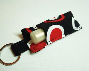 Chapstick Keychain,Lip Balm Key chain,Chapstick Holder,chapstick cozy keychain,Lipbalm cover pouch,chaps tick lipstick cozy-Black Red Circle