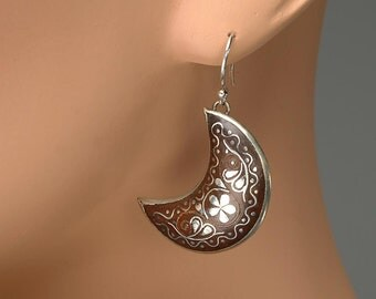 FREE US shipping - Edwardian, Victorian Shell and Silver Pique Half Moon Shape Earrings:  Grand Tour Souvenir - Victorian