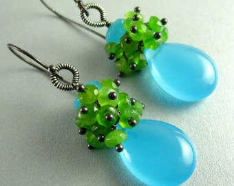 Turquoise Blue Chalcedony and Green Jade Sterling Silver Earrings