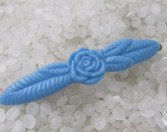 Beautiful vintage barrette bright blue rose