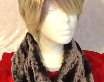 Infinity Scarf in soft and cuddly purple and dark grey Minky