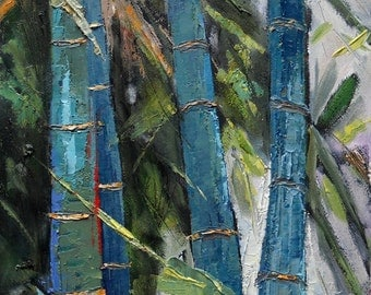 """Tree Landscape, bamboo giclee print on canvas, daily art, """"In the Bamboo"""", green, turquoise, free shipping, choose your size, no frame"""