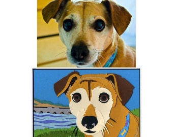 Custom Hand-Cut Color Pet  Portrait with Special Background