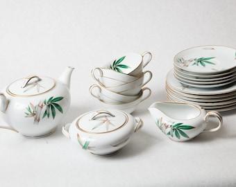 Vintage Noritake China Bamboo Dish Set including RARE Teapot