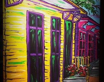 Creole Row an original New Orleans expressionist painting~ Free Shipping