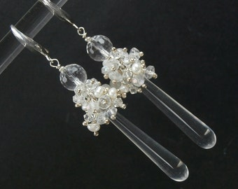 Long Drop Earrings Rock Crystal Cluster Sterling Wire Wrapped Pearl Cluster Wedding Earrings Crystal and Pearl Cluster Earrings