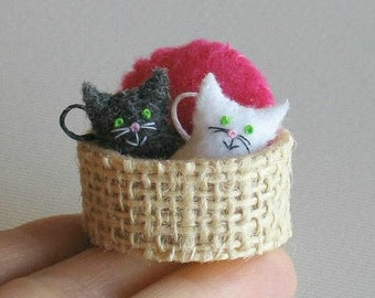 Cats in basket miniature felt stuffed animal play set with stiffened felt basket and plush pillow