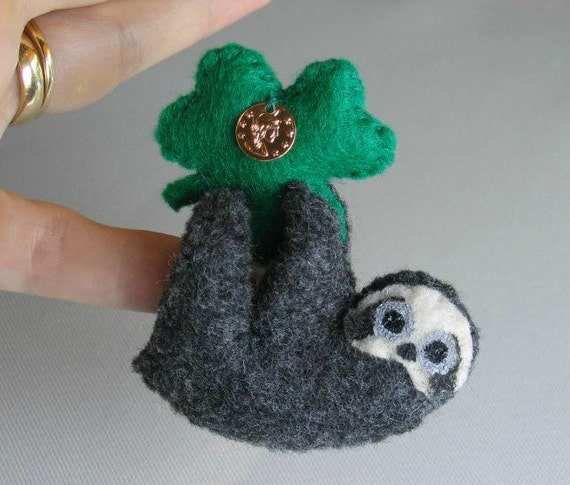 St Patrick's Day Sloth felt plush stuffed animal with gold coin on shamrock, bendable legs and hand painted face -rain forest animal