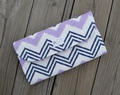 Purple Chevron Diaper Clutch with Changing Pad - Gender Neutral - Grey - Gray - Baby Shower Gift - Boy - Girl - Purple Chevron - Ikat