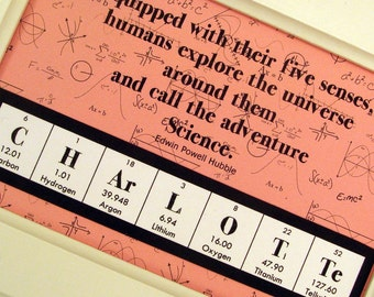Chemistry Personalized Science Sign - 4 x 6 Pink
