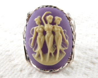 Dancing Graces Muses Cameo Ring Sterling Silver Jewelry