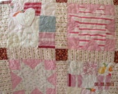 Custom Baby Clothes Memory Quilt - Hand Made Applique Star Block, Corner Stone