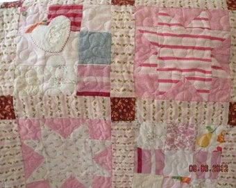 Custom Baby Clothes Memory Quilt - Hand Made Applique Star Block, Corner Stone