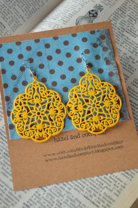 Large Bright Sunshine Yellow Metal Filigree Boho Earrings Dangle Dangly Lacy Lace Bohemian Hippie Chic