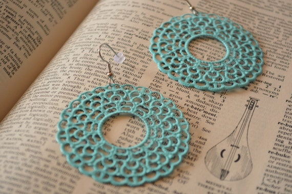 Large Tiffany Blue Metal Filigree Boho Earrings Dangle Dangly Lacy Lace Bohemian Hippie Chic