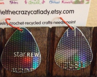 Recycled credit card earrings Macy's stars