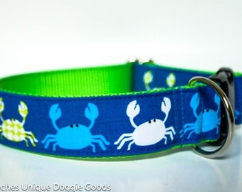 Crab Shack in Blue - 1.5 inch Wide Dog Collar