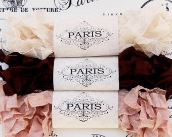 Seam Binding,Scrunched, Shabby Crinkled Ribbon, Brown,Cream, Rayon Ribbon,Doll Making, French Vintage Supplies, Australia, Paris Memories