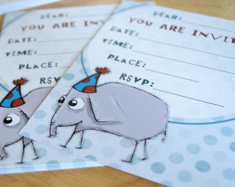 Instant Download Eli the Elephant Birthday Party Invitations Printable DIY cute paper goods