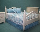One Inch Scale, Miniature Cream Bed, dressed in blue and white Toile fabric