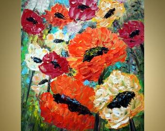 on SALE Original Oil Painting Impasto Art on Canvas Poppy Flowers Summer Floral by Luiza Vizoli