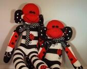 Ladybug Sock Monkey Doll.  Black and White Stripes with Ladybugs.  OOAK.
