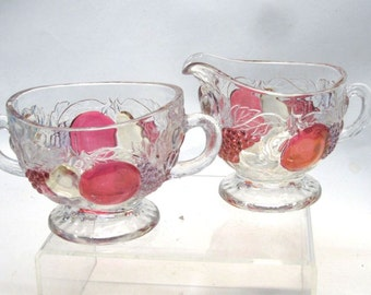 1930's Della Robbia Glass Sugar and Creamer Dark Tints Fruit by Westmoreland Glass