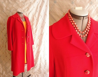 60s Coat // Winter Coat // Vintage 1960s Lipstick Red Coat by L.C. Mae's Globetrotter Size M L