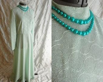 70s Dress // Maxi Dress // Vintage 1970s Mint Green Sparkle Maxi Party Dress Size L