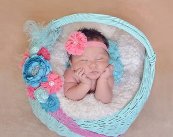Coral Elastic Headband with Chiffon Flower With Bling Center Free Shipping On All Additional Items