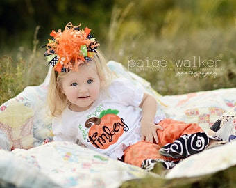 Halloween Black Orange and Green Chevron Over The Top Funky Bow with Ostrich Puff on headband Free Shipping On All Additional Items