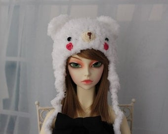 White Bear Hat for SD BJD, 1/3 Doll, Size 8-9