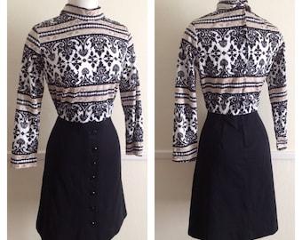 60s 70s Mod, long sleeve, brocade print, mock turtle neck mini dress.